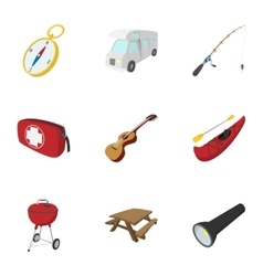 Camp icons set cartoon style vector