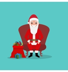 Cartoon santa claus sits in chair with bag gifts vector