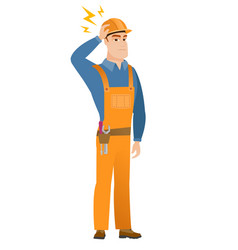 Caucasian builder with lightning over his head vector
