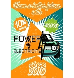 Color vintage electric car poster vector