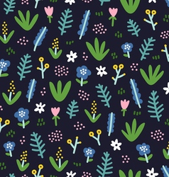 Cute little flowers on dark background vector