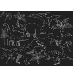 Dinosaur chalk vector image