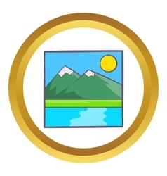 Drawing mountain landscape icon vector