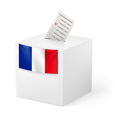 Election in france ballot box with voicing paper vector