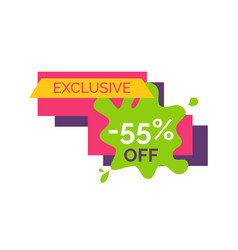 exclusive -55 off sticker on vector image