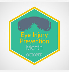 eye injury prevention month icon vector image vector image