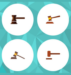 Flat icon hammer set of defense government vector