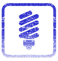 fluorescent bulb framed textured icon vector image vector image