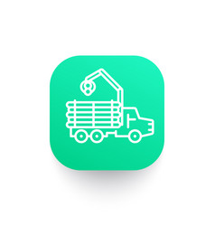 Forwarder icon logging truck forestry vehicle vector