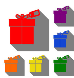 gift sign with tag set of red orange yellow vector image