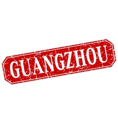 Guangzhou red square grunge retro style sign vector
