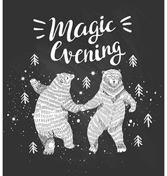 Hand drawn dancing bears in the forest sketch with vector image vector image