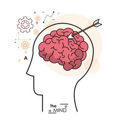 Mind head human brain arrow strategy business vector
