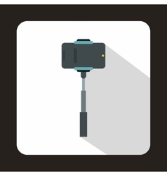 Mobile phone on a selfie stick icon flat style vector image