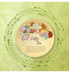 Pattern with coffee cezve sweets and flowers Tea vector image