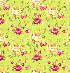 Pattern with yellow and pink roses vector