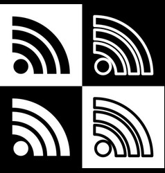 Rss sign black and white vector