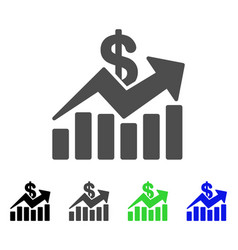 sales bar chart trend flat icon vector image