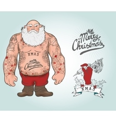Santa with tattoos vector
