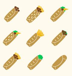 Set of color tortilla food icons set eps10 vector