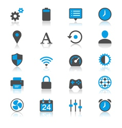 Setting flat with reflection icons vector image vector image