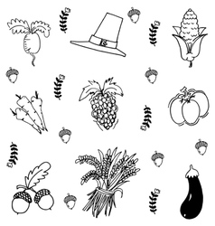 Vegetable in doodle thanksgiving vector