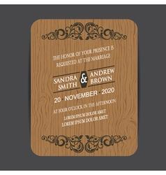 Wooden wedding invitation vector