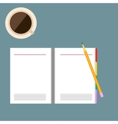 Yellow pencil and paper notebook with coffee cup vector image