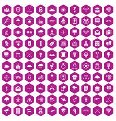 100 arrow icons hexagon violet vector