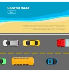 Coastal road autotransport banner line markings vector