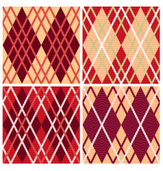 Four rhombic seamless patterns vector