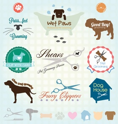 Retro pet grooming labels and icons vector