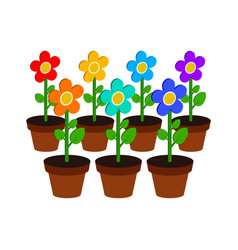 Growing flowers symbol flat isometric icon or vector