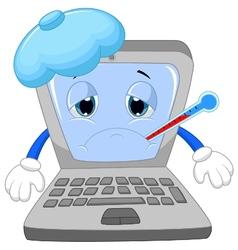 Sick laptop cartoon vector