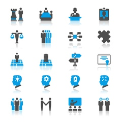 Business flat with reflection icons vector