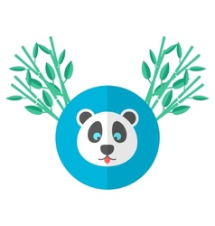 Panda and bamboo in flat style vector