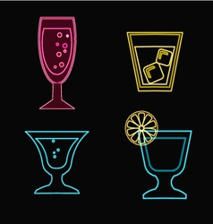 Cocktails set neon cocktail glasses vector