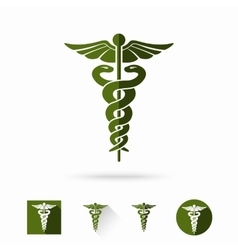 Caduceus - medical sign in different modern flat vector image