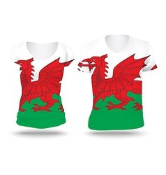 Flag shirt design of wales vector