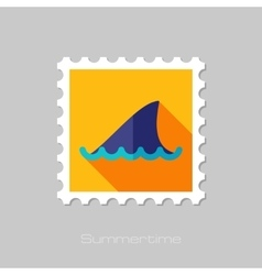 Shark fin flat stamp with long shadow vector