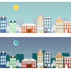Winter sityscape at night and at day vector