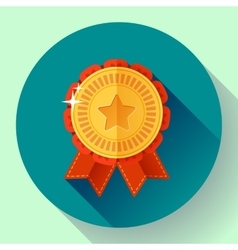 Gold shiny medal with ribbons badge icon flat vector