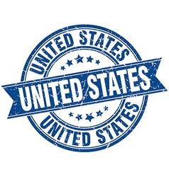 United states blue round grunge vintage ribbon vector