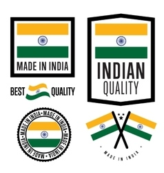 Made in India label set vector image