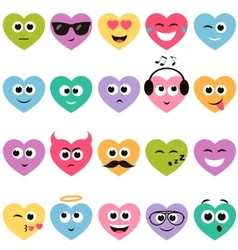 Colorful hearts with smiley faces vector