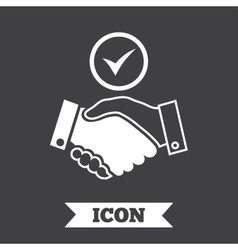 Tick handshake sign icon successful business vector