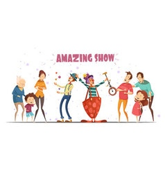 Amazing show laughing people cartoon vector