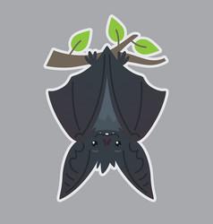 bat handing upside down on branch vector image
