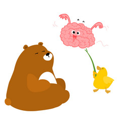 Bear duck and playful brain vector