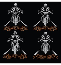 Biker theme labels with motorbike and skull vector